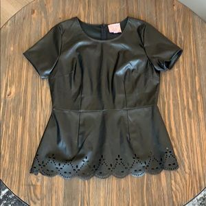 Fitted Faux Leather Top